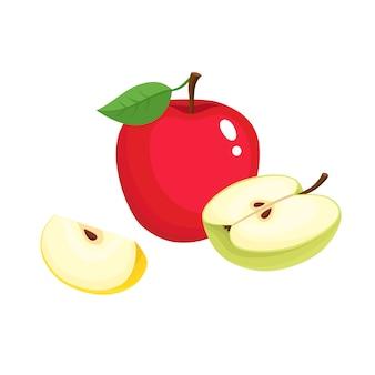 カラフルなジューシーなリンゴ分離、有機性果物の明るいベクトルイラスト