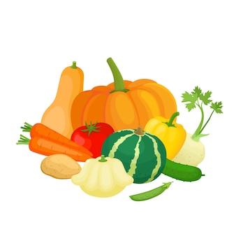 화려한 노란색, 주황색, 빨간색, 녹색 채소의 밝은 벡터 일러스트. 신선한 만화