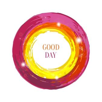 ライト付きの明るいベクトルインクフレーム円。グランジバナーの装飾。
