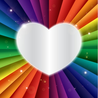 Bright vector rainbow celebration holiday banner with heart icon, vector background and love symbol
