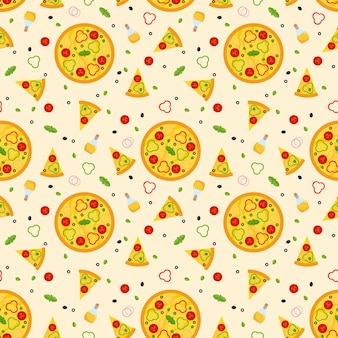 Bright vector seamless pattern with pizza