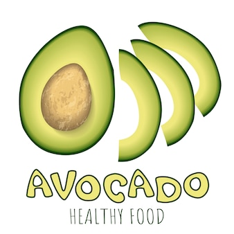 Bright vector set of colorful half and slices of fresh avocado