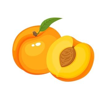 Яркий векторный набор красочных сочных персиков, свежих мультяшных персиков, изолированных на белом