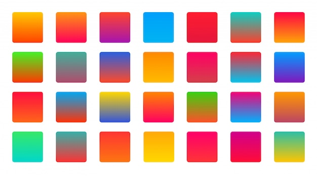 Bright vibrant colorful set of gradients background