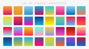 Bright vibrant set of gradients background