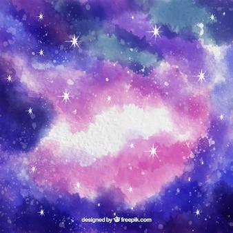 明るい水彩宇宙の背景