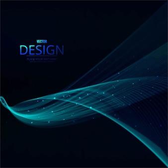 抽象的な青い波ラインの背景ポスター