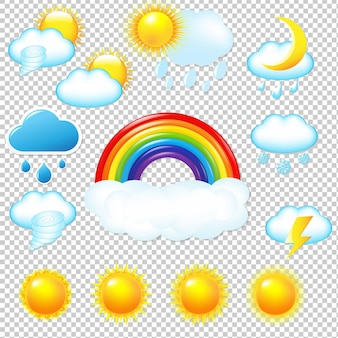 Bright weather icons set isolated illustration