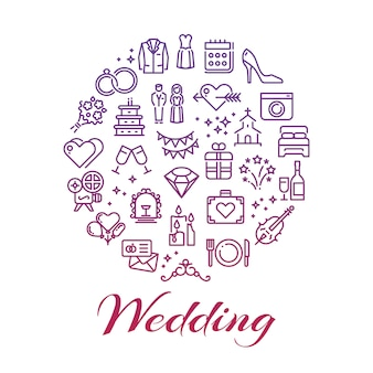 Bright wedding line icons round concept