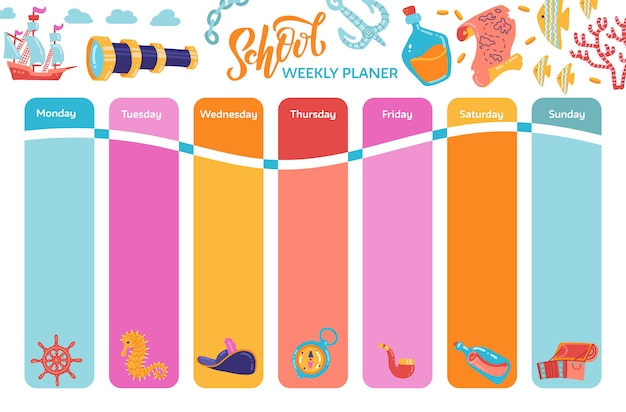 Bright weekly calendar planner, school timetable with adventure symbols.