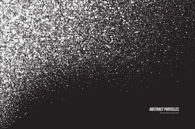 Bright white shimmer glowing round particles snowfall effect abstract background