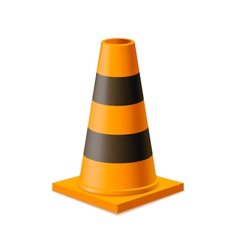 Bright yellow and black road cone  on white