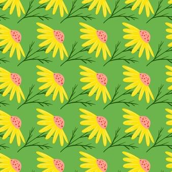 明るい黄色のカモミールの花のシームレスな落書きパターン