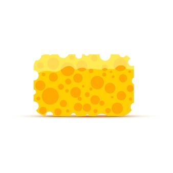 Ярко-желтая чистящая губка, изолированная на белом