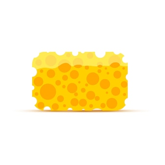 Bright yellow cleaning sponge isolated on white