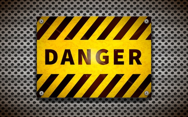 Bright yellow danger sign on metallic grid, industrial background