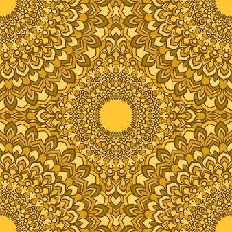 실크 목도리의 디자인이나 섬유에 인쇄에 대한 많은 세부 사항과 함께 밝은 노란색 눈부신 핸드 드로잉 장식 꽃 추상 원활한 배경