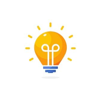 明るい黄色のランプアイコン、エネルギー電球のロゴ、革新的なソリューションのインフォグラフィック、電気フラットベクトルアイコン、創造的なアイデアのシンボル