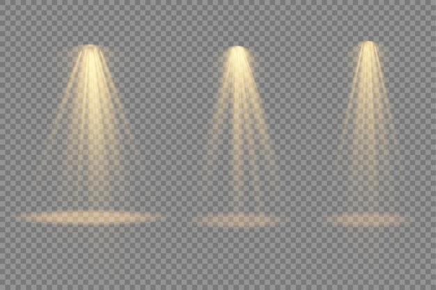 Ярко-желтое освещение с прожекторными световыми эффектами проектора