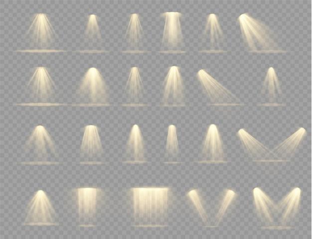 Ярко-желтое освещение с точечными светильниками, световыми эффектами проектора, сценой, прожектором,.
