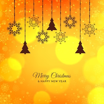 Bright yellow merry christmas festive background design