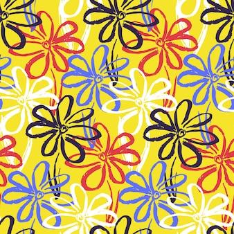 コントラストのシンプルな花と明るい黄色のパターン