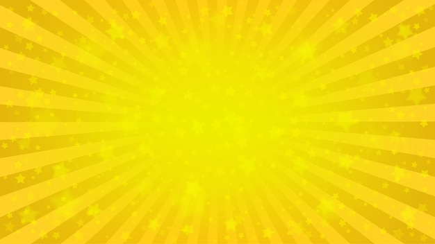 밝은 노란색 광선 배경, 많은 별. 햇살 만화, 팝 아트 스타일