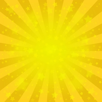 Bright yellow rays background, lot of stars. sunburst comic style