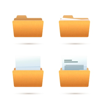 Bright yellow realistic folder icons with documents  on white