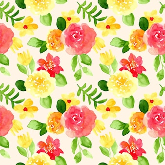 Bright yellow red floral watercolor seamless pattern
