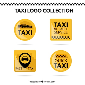 Bright yellow stickers set of taxi