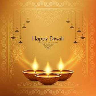 Bright yellow stylish happy diwali festival background