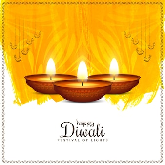 Bright yellow watercolor happy diwali festival background