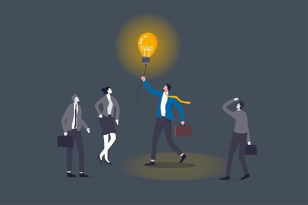 비즈니스를 밝게 하고, 경력 경로를 안내하는 밝은 빛, 솔루션을 위한 창의성, 어두운 개념에서 길을 보기 위해 불을 밝히고, 어둠 속에서 동료를 돕기 위해 전구 아이디어를 들고 있는 똑똑한 사업가 관리자.