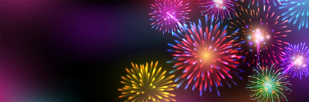 Brightly colorful fireworks on twilight