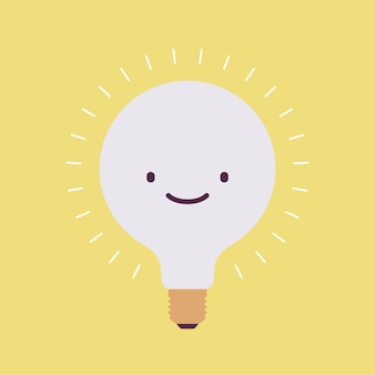 Brightly flickering bulb with a smile