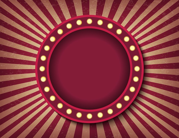 Brightly glowing circle retro cinema neon sign. circus style show horizontal banner template. background vector poster image