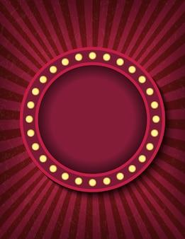Ярко светящийся круг ретро кино неоновая вывеска. цирковой стиль шоу вертикальный баннер шаблон. фон векторное изображение плаката