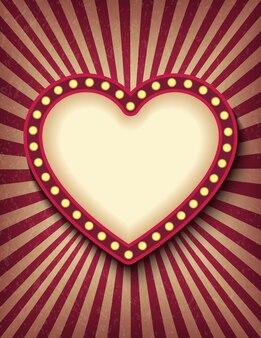 Ярко светящийся сердце ретро кино неоновый вертикальный знак.