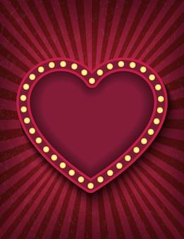 밝게 빛나는 붉은 심장 복고풍 영화 네온 수직 기호.