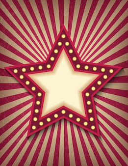 Brightly glowing star retro cinema neon sign. circus style show vertical banner template.