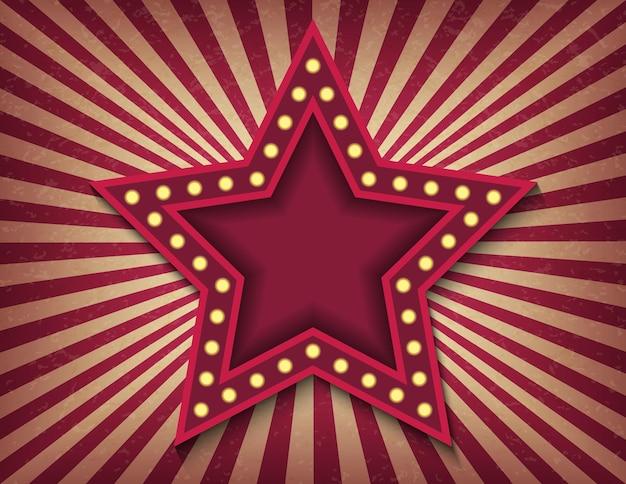 Ярко светящаяся звезда ретро кино неоновая вывеска