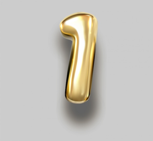 Brilliant font number 1 made of realistic 3d gold helium air balloon.