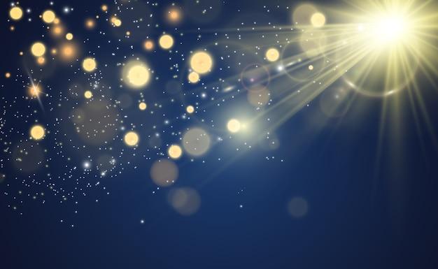 Brilliant gold dust shine. glittering shiny ornaments for background. illustration.