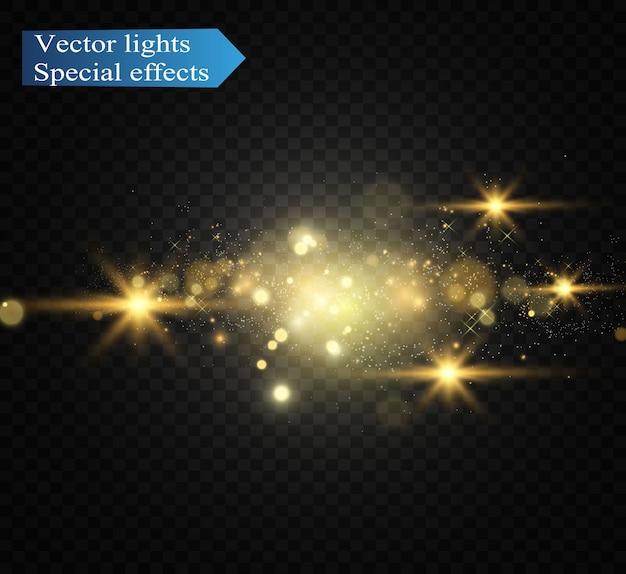 Блестящий золотой блеск. сверкающие блестящие украшения для фона.