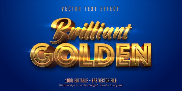 Brilliant golden text, shiny gold style editable text effect