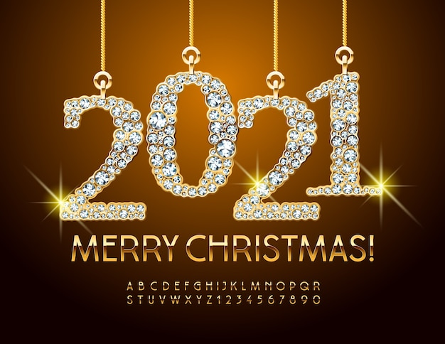 Brilliant greeting card merry christmas 2021. gold alphabet letters and numbers. elite font