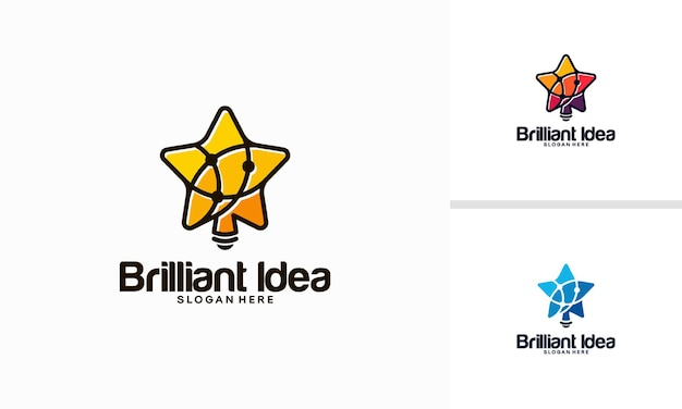 Brilliant idea logo designs concept, bright star bulb technology logo template vector