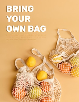 Bring your own bag template poster to loving the earth Free Vector