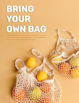 地球を愛するためにあなた自身のバッグテンプレートポスターを持ってきてください